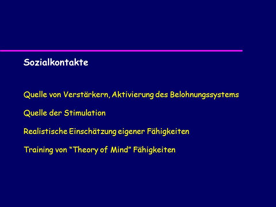 Sozialkontakte Quelle von Verstärkern, Aktivierung des Belohnungssystems Quelle der Stimulation Realistische Einschätzung eigener Fähigkeiten Training