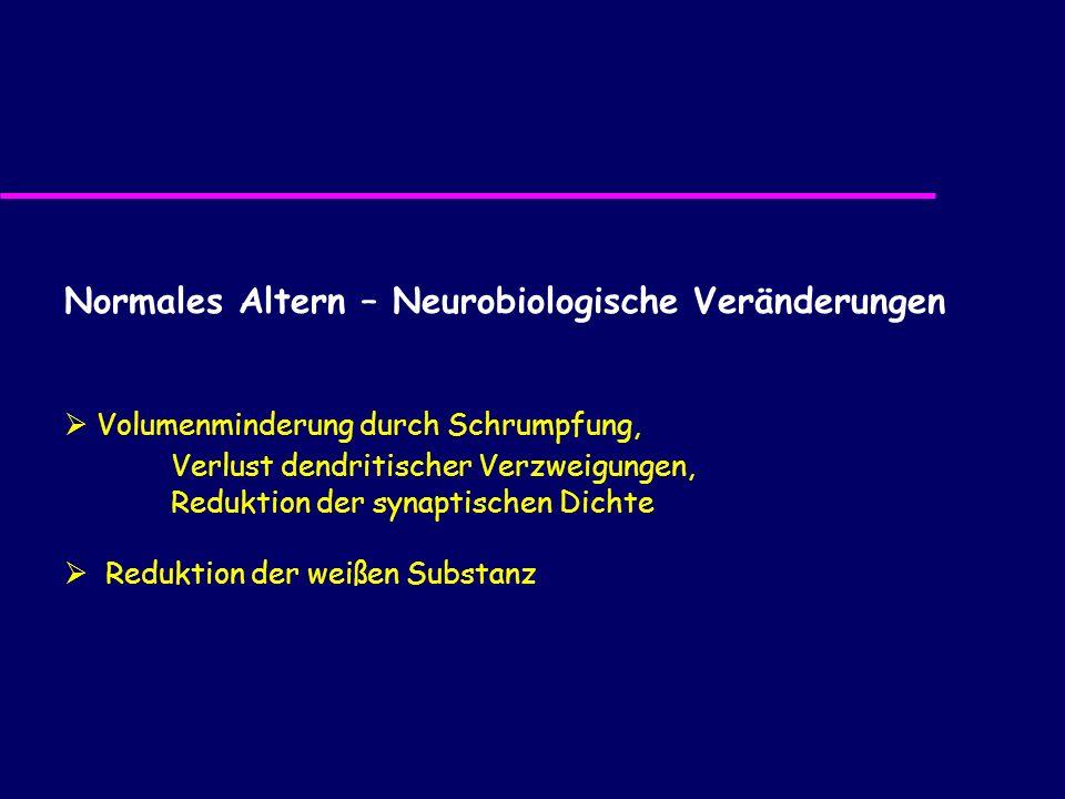 Normales Altern – Neurobiologische Veränderungen Volumenminderung durch Schrumpfung, Verlust dendritischer Verzweigungen, Reduktion der synaptischen D