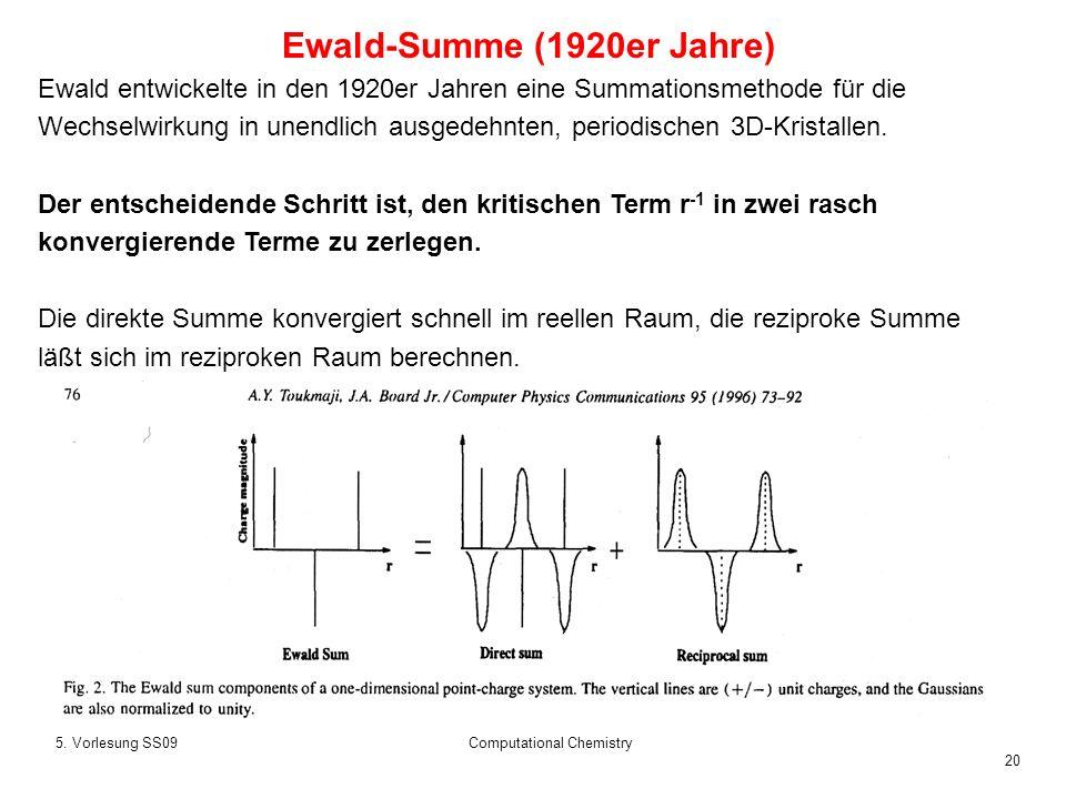 20 5. Vorlesung SS09Computational Chemistry Ewald entwickelte in den 1920er Jahren eine Summationsmethode für die Wechselwirkung in unendlich ausgedeh