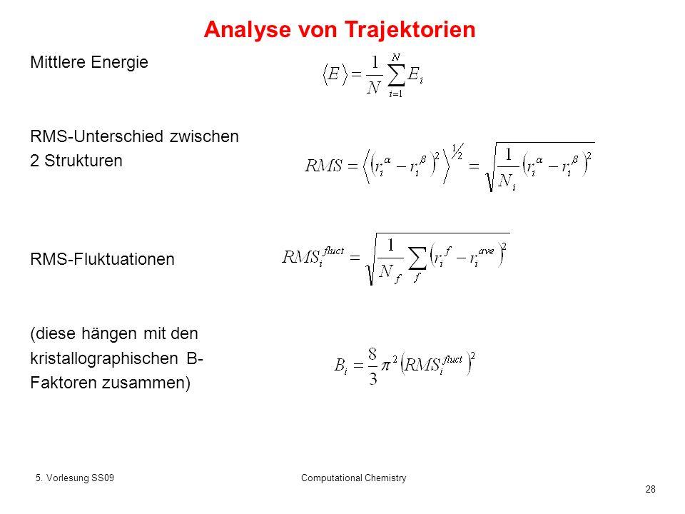 28 5. Vorlesung SS09Computational Chemistry Mittlere Energie RMS-Unterschied zwischen 2 Strukturen RMS-Fluktuationen (diese hängen mit den kristallogr