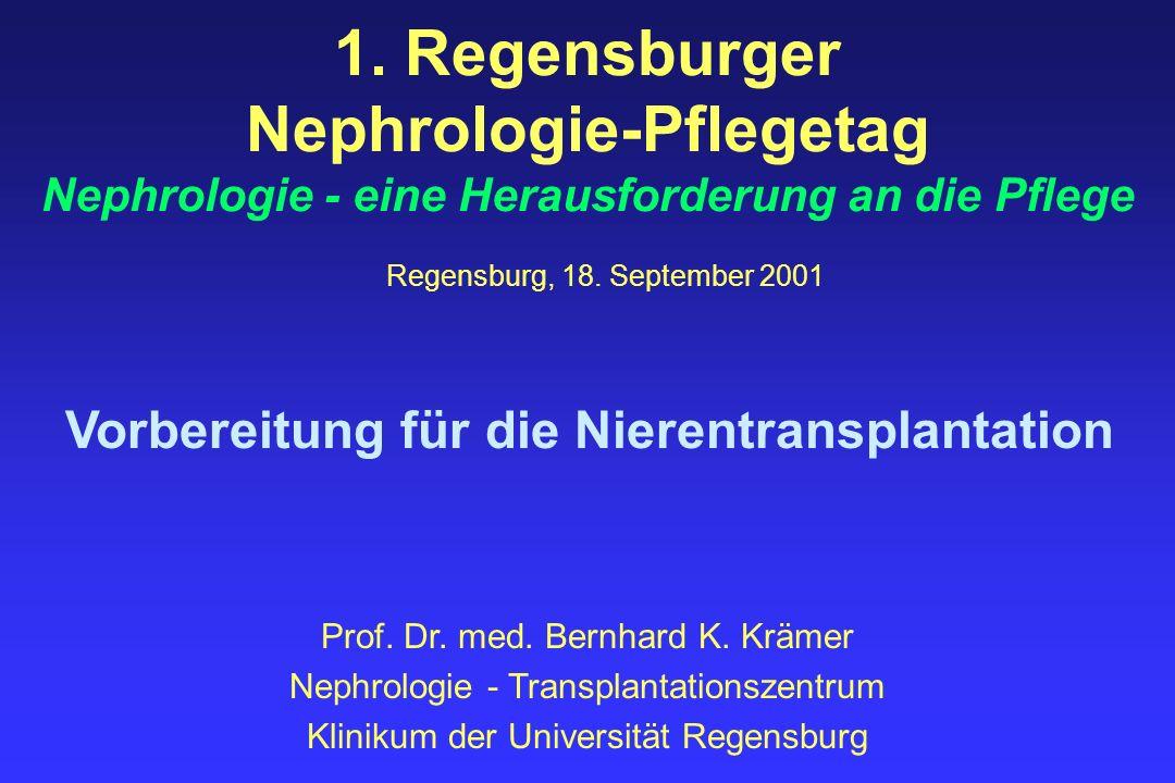 Vorbereitung für die Nierentransplantation Warteliste und Nierentransplantation 0 500 1.000 1.500 2.000 2.500 3.000 3.500 4.000 4.500 5.000 5.500 6.000 6.500 7.000 7.500 8.000 8.500 9.000 9.500 10.000 10.500 11.000 11.500 12.000 12.500 19901991199219931994199519961997199819992000 Nierentransplantationen Warteliste 19901991199219931994199519961997199819992000 Warteliste6.9457.2217.8118.3129.0349.4699.94010.49011.05811.67711.973 Nierentransplantationen2.3582.2552.0922.1641.9722.1282.0162.2492.3402.2752.219