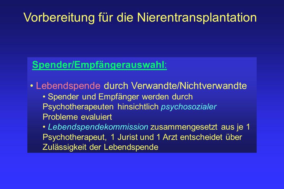 Vorbereitung für die Nierentransplantation Spender/Empfängerauswahl: Lebendspende durch Verwandte/Nichtverwandte Spender und Empfänger werden durch Ps