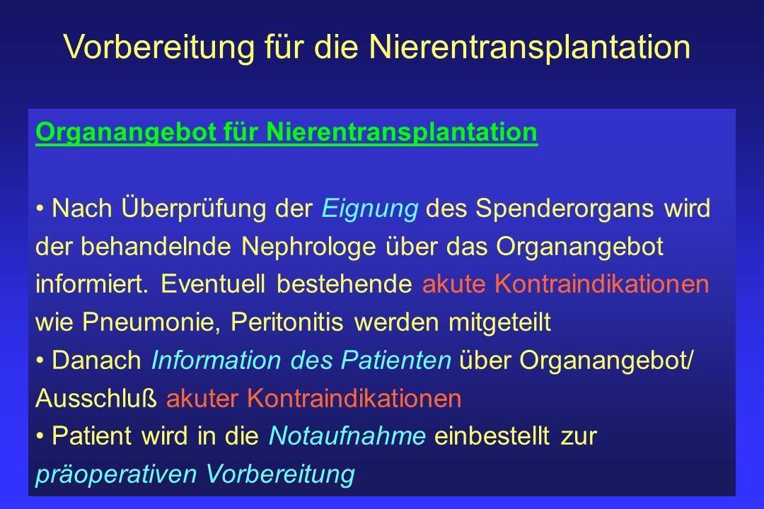 Vorbereitung für die Nierentransplantation Organangebot für Nierentransplantation Nach Überprüfung der Eignung des Spenderorgans wird der behandelnde