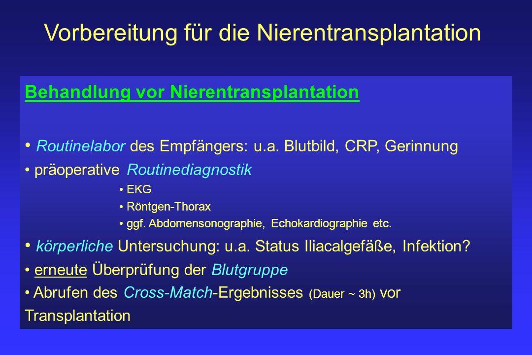 Vorbereitung für die Nierentransplantation Behandlung vor Nierentransplantation Routinelabor des Empfängers: u.a. Blutbild, CRP, Gerinnung präoperativ