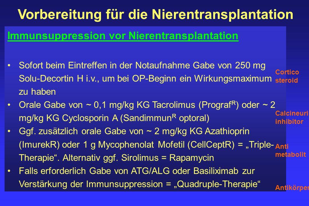 Vorbereitung für die Nierentransplantation Immunsuppression vor Nierentransplantation Sofort beim Eintreffen in der Notaufnahme Gabe von 250 mg Solu-D