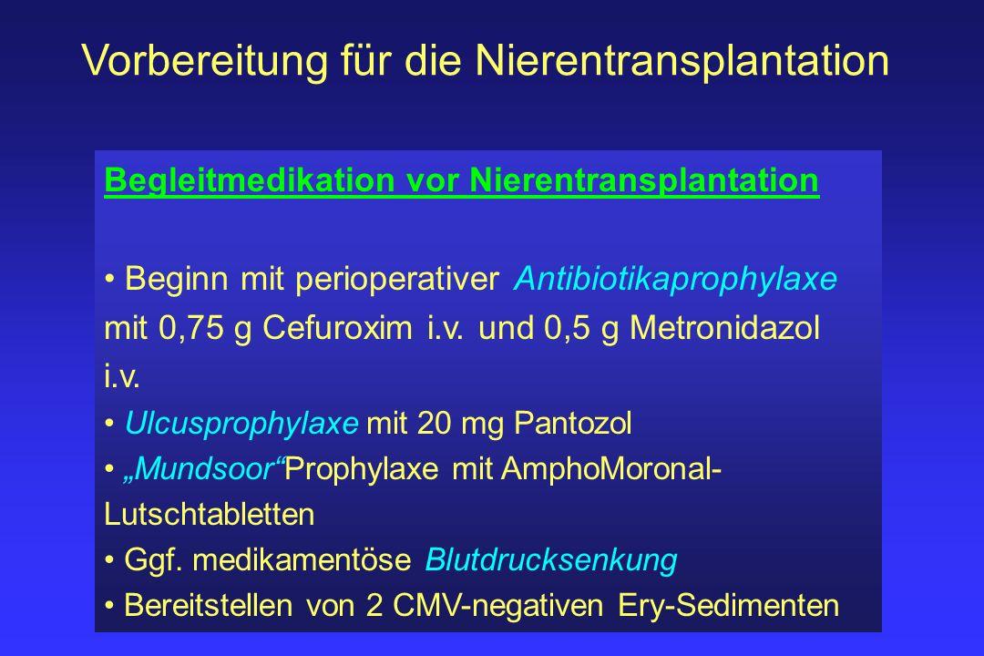 Vorbereitung für die Nierentransplantation Begleitmedikation vor Nierentransplantation Beginn mit perioperativer Antibiotikaprophylaxe mit 0,75 g Cefu