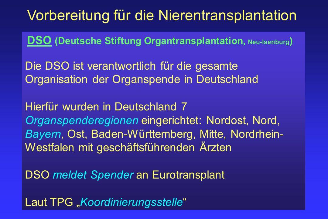 Vorbereitung für die Nierentransplantation DSO (Deutsche Stiftung Organtransplantation, Neu-Isenburg ) Die DSO ist verantwortlich für die gesamte Orga