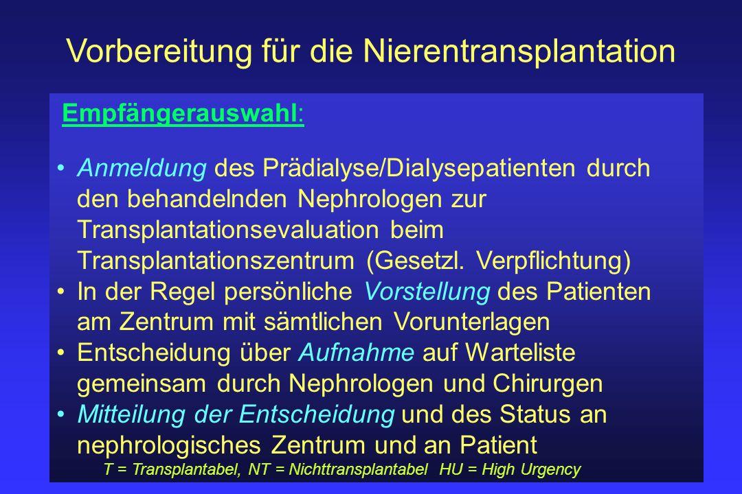 Vorbereitung für die Nierentransplantation Empfängerauswahl: Anmeldung des Prädialyse/Dialysepatienten durch den behandelnden Nephrologen zur Transpla