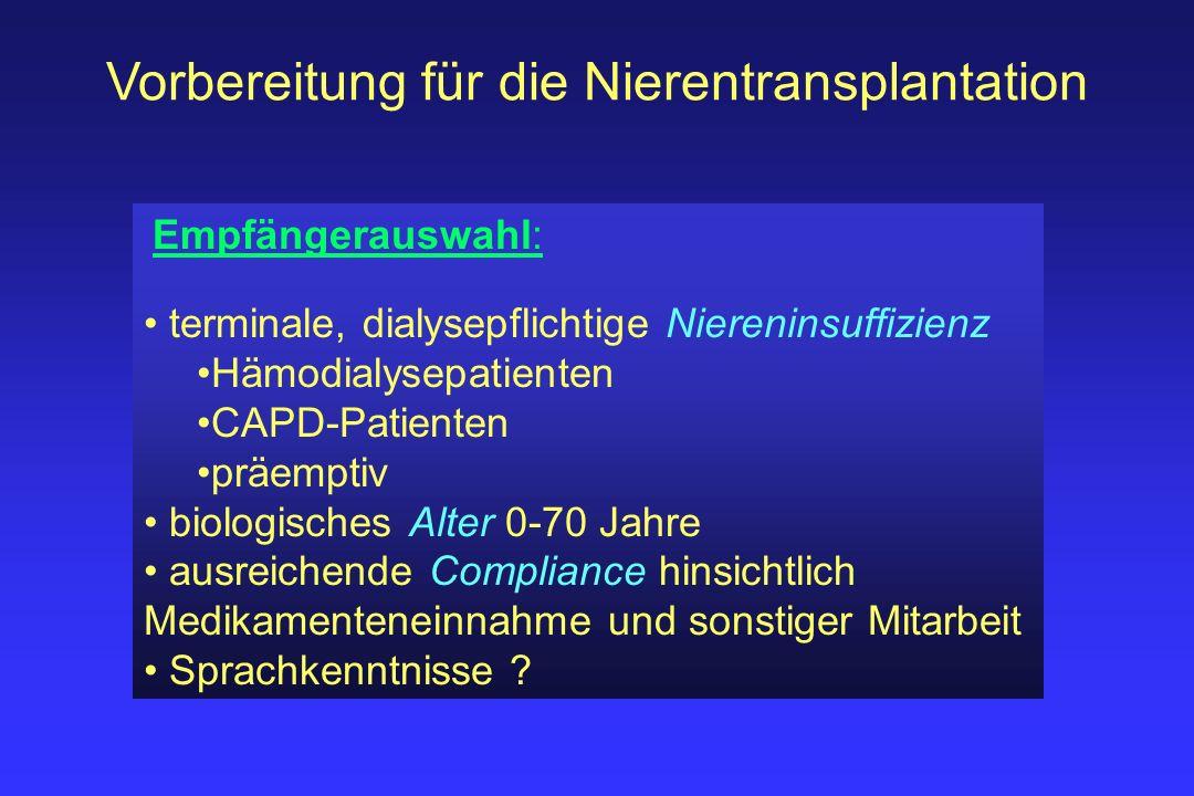 Vorbereitung für die Nierentransplantation Empfängerauswahl: terminale, dialysepflichtige Niereninsuffizienz Hämodialysepatienten CAPD-Patienten präem