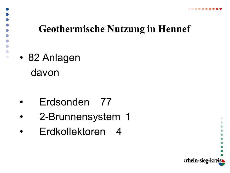 Geothermische Nutzung in Hennef 82 Anlagen davon Erdsonden 77 2-Brunnensystem 1 Erdkollektoren 4