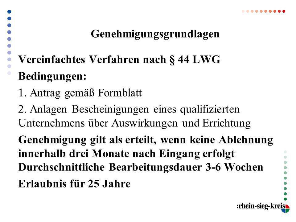 Genehmigungsgrundlagen Vereinfachtes Verfahren nach § 44 LWG Bedingungen: 1. Antrag gemäß Formblatt 2. Anlagen Bescheinigungen eines qualifizierten Un