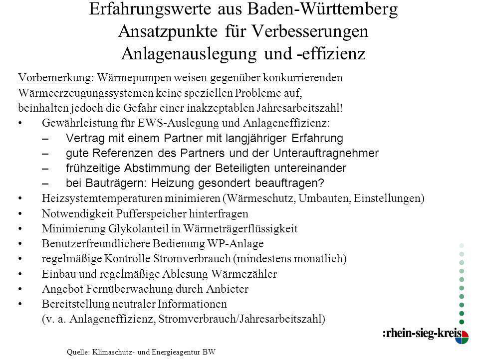 Erfahrungswerte aus Baden-Württemberg Ansatzpunkte für Verbesserungen Anlagenauslegung und -effizienz Vorbemerkung: Wärmepumpen weisen gegenüber konku