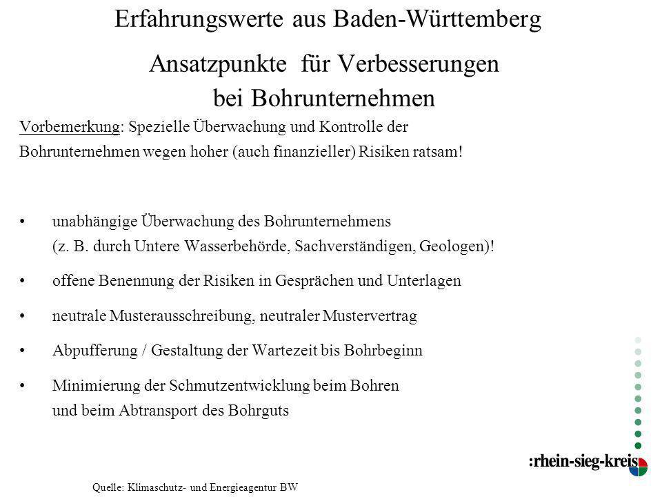 Erfahrungswerte aus Baden-Württemberg Ansatzpunkte für Verbesserungen bei Bohrunternehmen Vorbemerkung: Spezielle Überwachung und Kontrolle der Bohrun