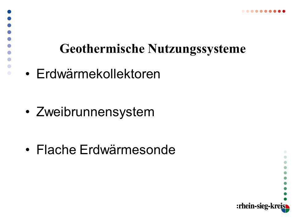 Geothermische Nutzungssysteme Erdwärmekollektoren Zweibrunnensystem Flache Erdwärmesonde