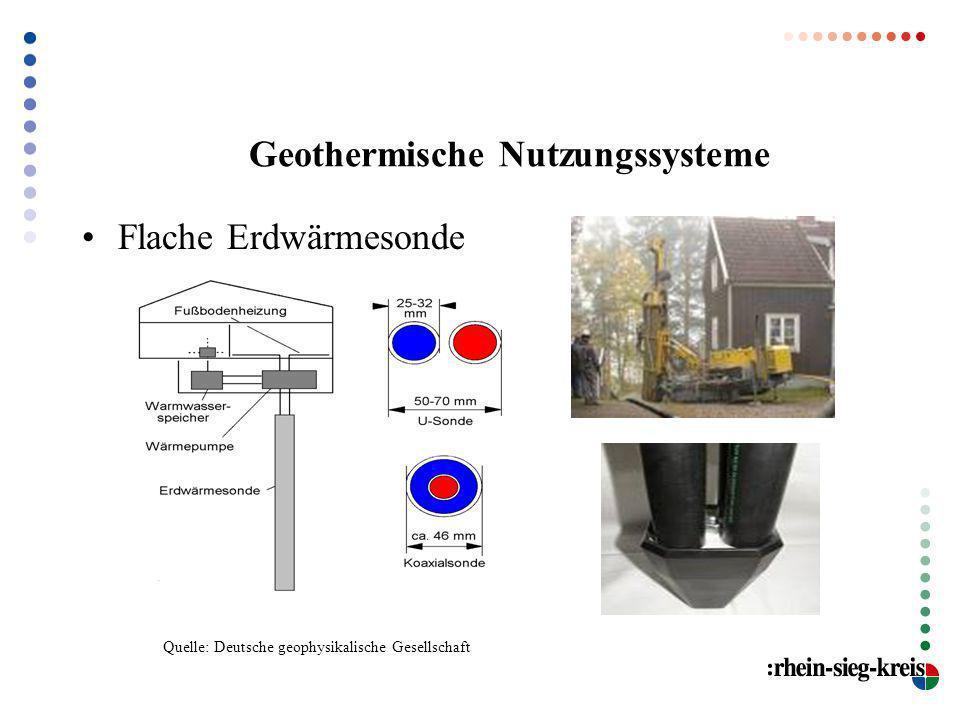 Geothermische Nutzungssysteme Flache Erdwärmesonde Quelle: Deutsche geophysikalische Gesellschaft