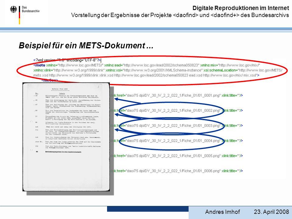 Digitale Reproduktionen im Internet Vorstellung der Ergebnisse der Projekte und des Bundesarchivs 23. April 2008Andres Imhof Beispiel für ein METS-Dok