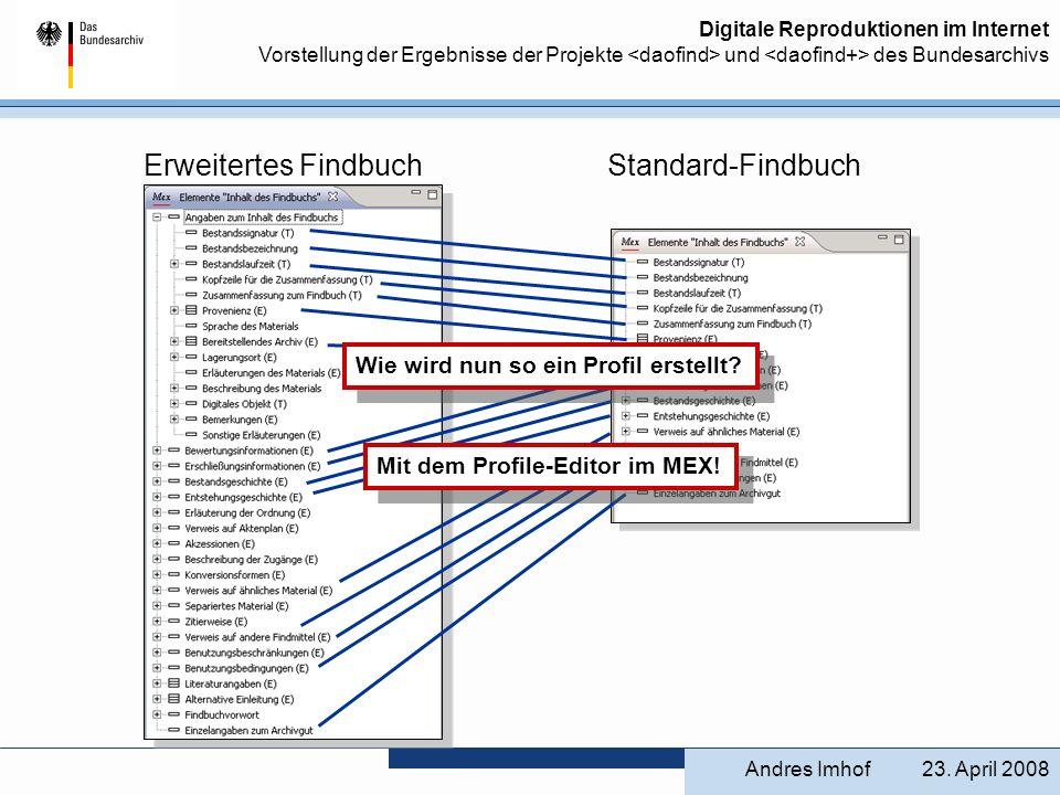 Digitale Reproduktionen im Internet Vorstellung der Ergebnisse der Projekte und des Bundesarchivs 23. April 2008Andres Imhof Erweitertes Findbuch Stan