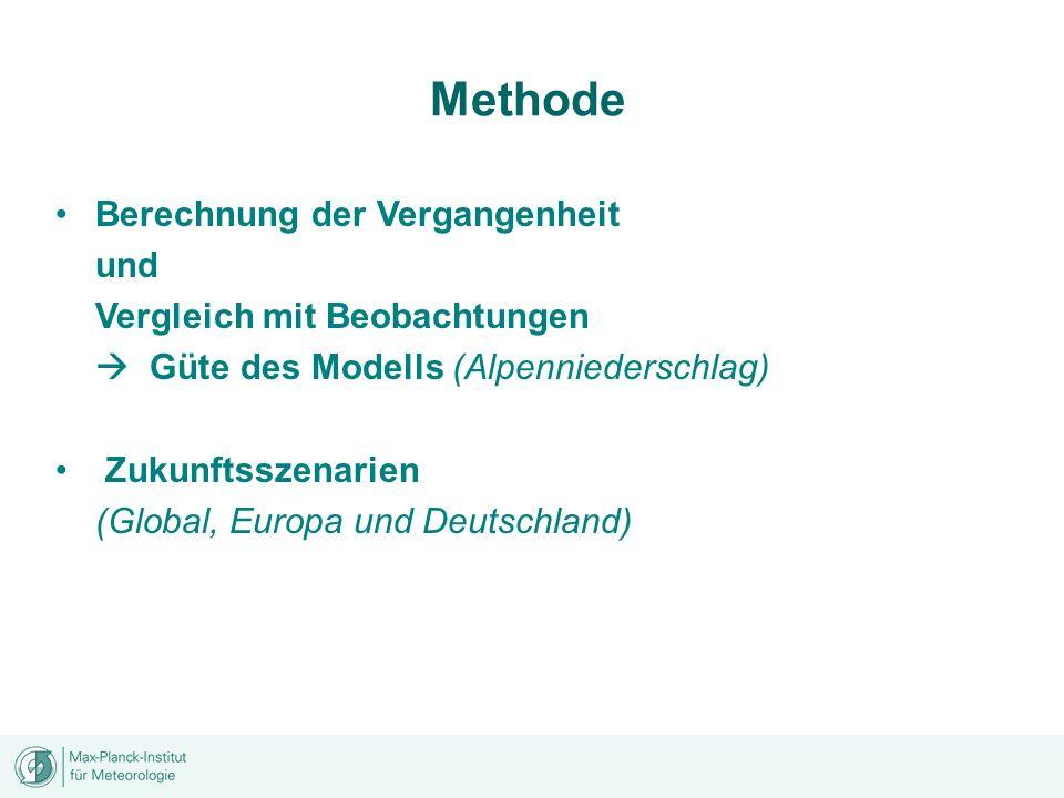 Methode Berechnung der Vergangenheit und Vergleich mit Beobachtungen Güte des Modells (Alpenniederschlag) Zukunftsszenarien (Global, Europa und Deutsc