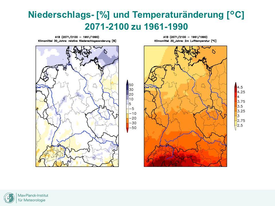 Niederschlags- [%] und Temperaturänderung [°C] 2071-2100 zu 1961-1990