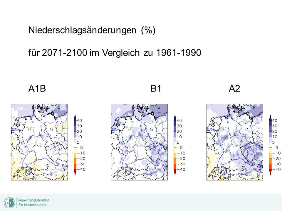 Niederschlagsänderungen (%) für 2071-2100 im Vergleich zu 1961-1990 A1BA2B1