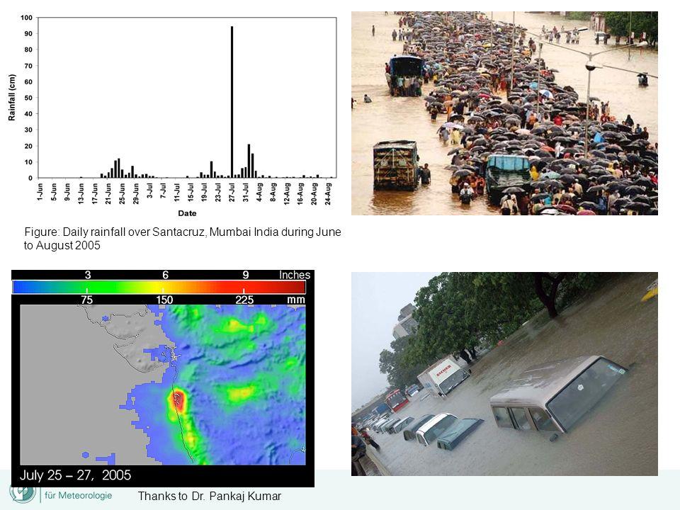 Figure: Daily rainfall over Santacruz, Mumbai India during June to August 2005 Thanks to Dr. Pankaj Kumar