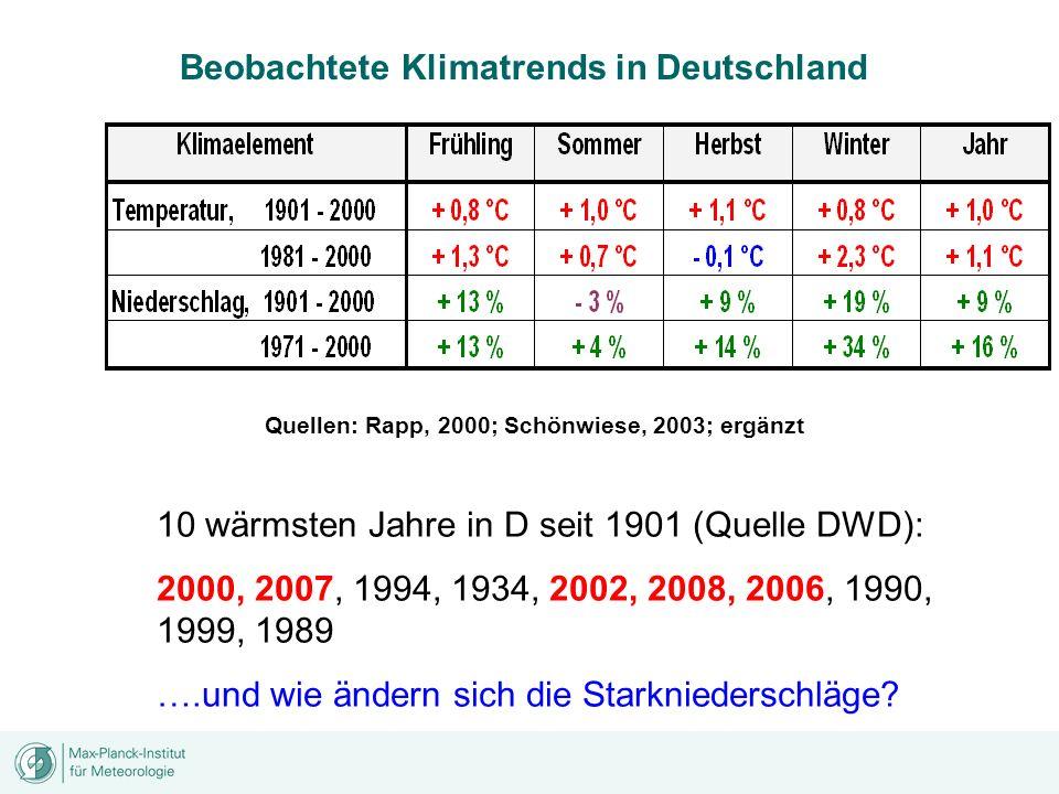 Quellen: Rapp, 2000; Schönwiese, 2003; ergänzt Beobachtete Klimatrends in Deutschland 10 wärmsten Jahre in D seit 1901 (Quelle DWD): 2000, 2007, 1994,