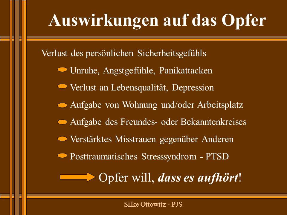 Silke Ottowitz - PJS Verlust des persönlichen Sicherheitsgefühls Unruhe, Angstgefühle, Panikattacken Verlust an Lebensqualität, Depression Aufgabe von