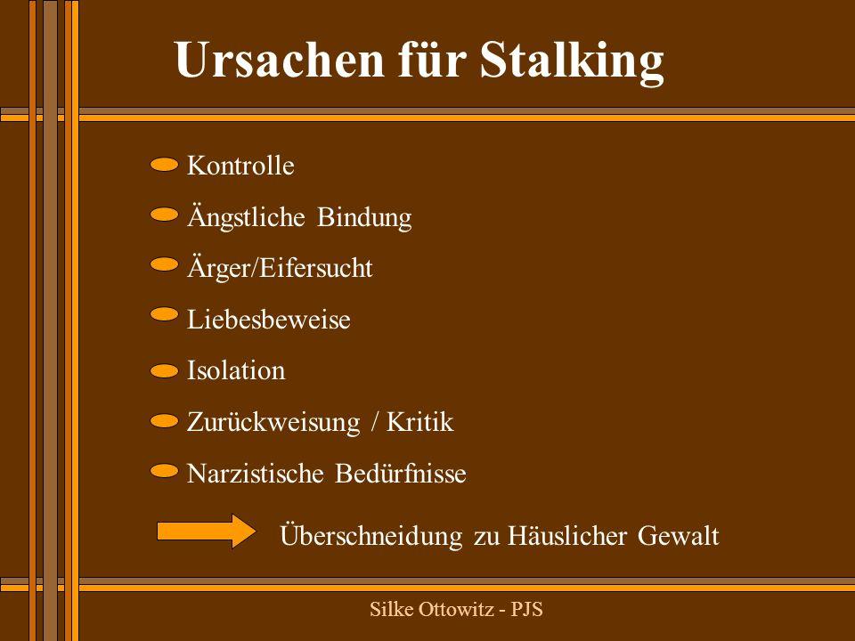 Ex-Partner Stalking Schwärmer- isches Stalking Wahnhaftes Stalking Sadistisches Stalking Häufigkeit Motiv Dauer Emotionale Reaktion des Opfers Risiko des Opfers Interventions- möglichkeit Rückfallwahr- scheinlichkeit 50,0 % Wut, Groll Lang Ärger, Angst, Hass Abhängig von Um- ständen/räuml.