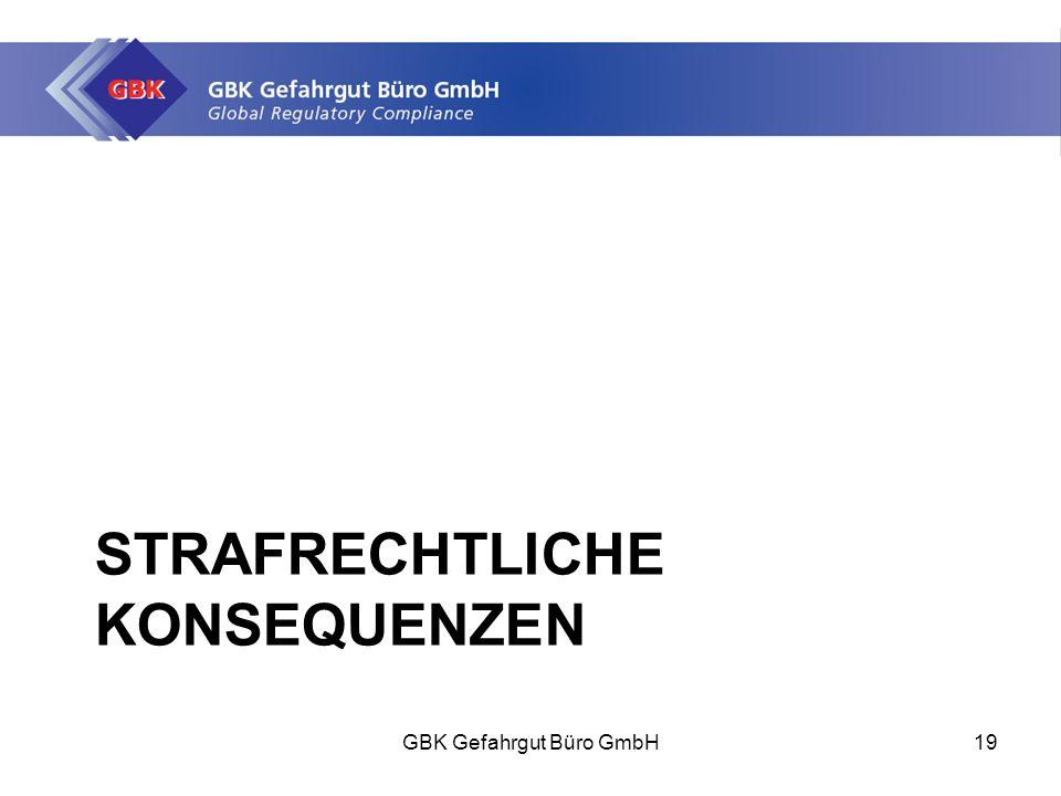 STRAFRECHTLICHE KONSEQUENZEN GBK Gefahrgut Büro GmbH19