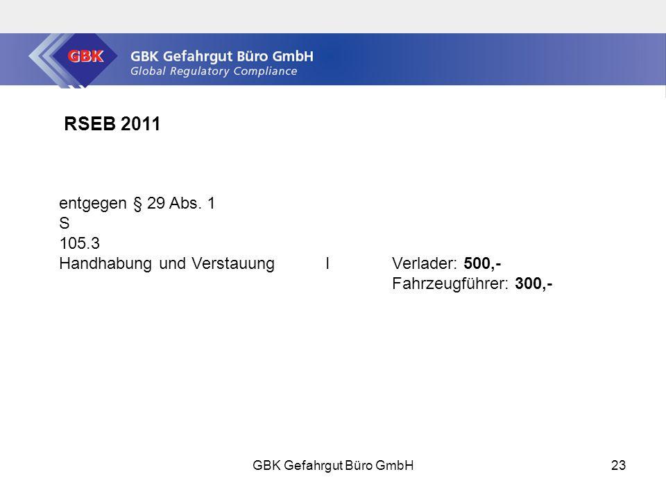 GBK Gefahrgut Büro GmbH23 RSEB 2011 entgegen § 29 Abs.