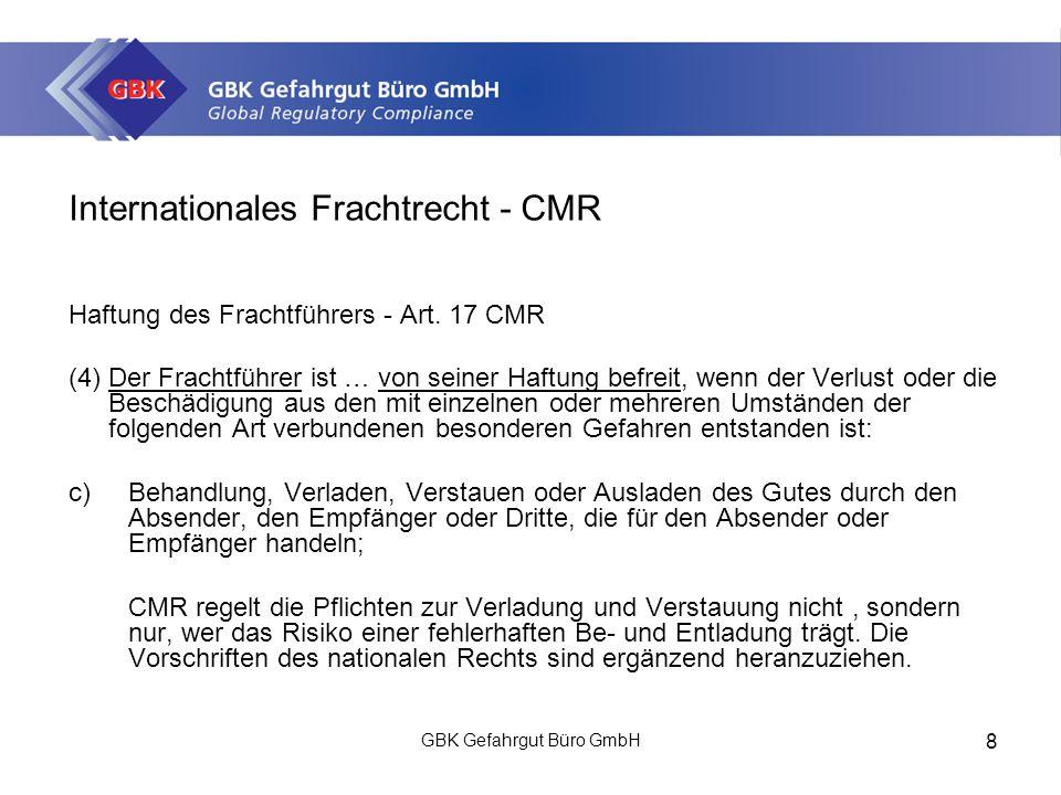 Internationales Frachtrecht - CMR Haftung des Frachtführers - Art.