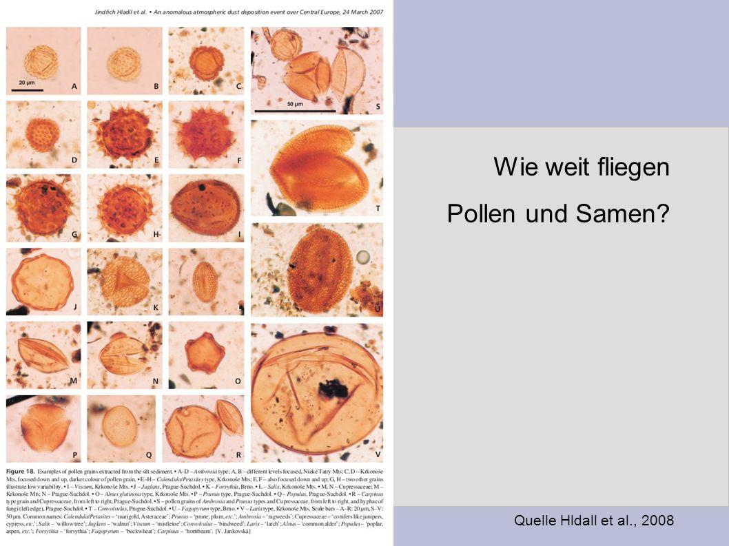 Wie weit fliegen Pollen und Samen? Quelle Hldall et al., 2008