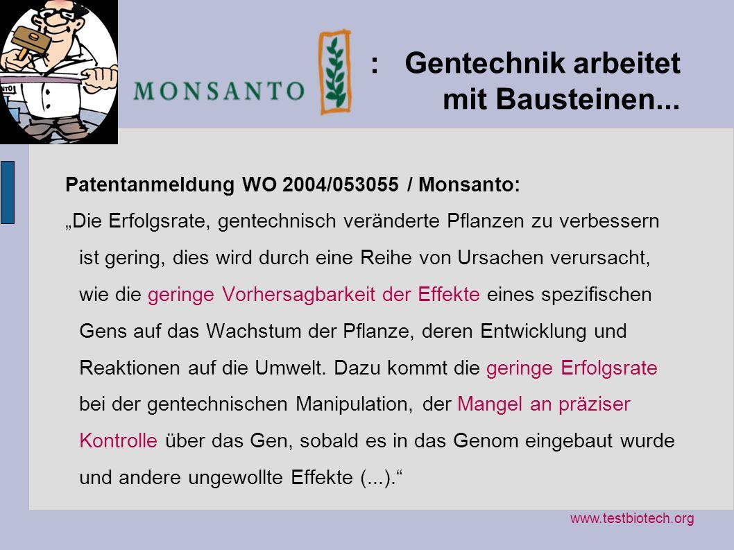 : Gentechnik arbeitet mit Bausteinen... Patentanmeldung WO 2004/053055 / Monsanto: Die Erfolgsrate, gentechnisch veränderte Pflanzen zu verbessern ist