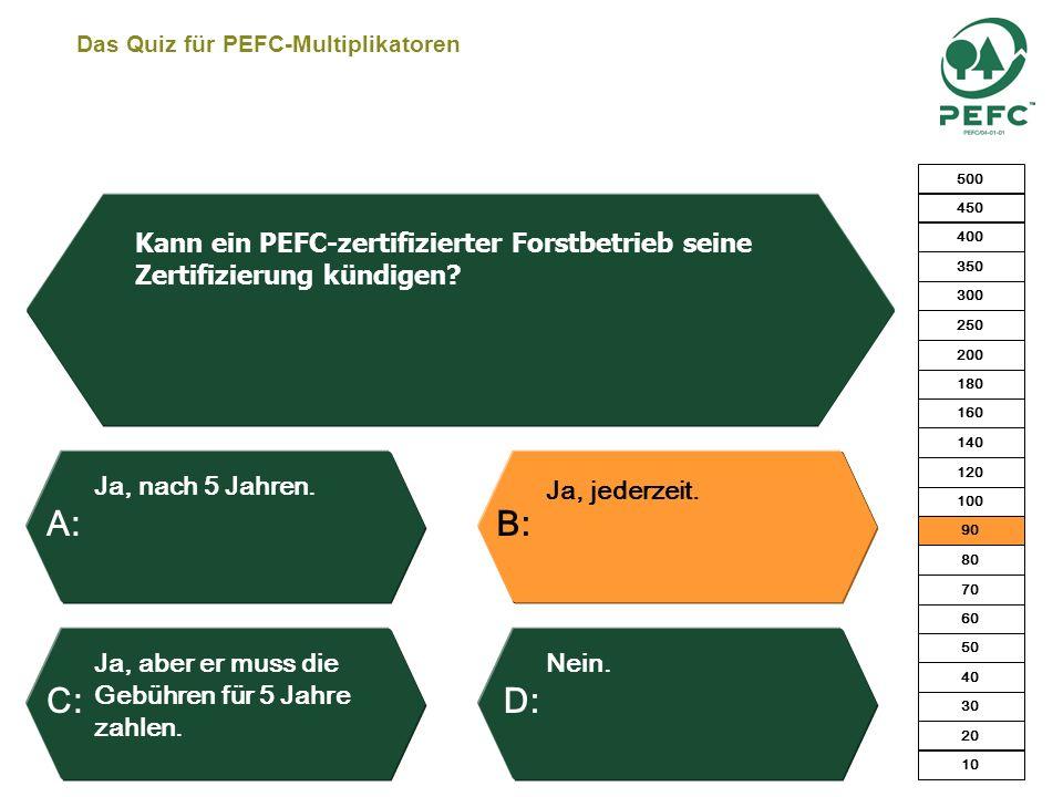 Das Quiz für PEFC-Multiplikatoren Die FBG verliert das PEFC-Zertifikat. Der Abweichler wird aus der Liste gestrichen und darf nicht mehr mit dem PEFC-