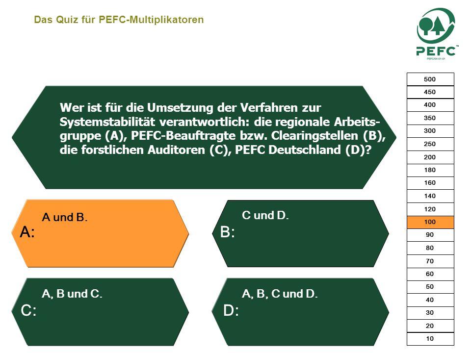 Das Quiz für PEFC-Multiplikatoren Ja, nach 5 Jahren. Ja, jederzeit. Ja, aber er muss die Gebühren für 5 Jahre zahlen. Nein. Kann ein PEFC-zertifiziert