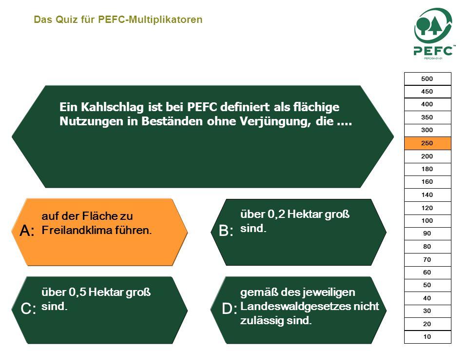 Das Quiz für PEFC-Multiplikatoren 5 x 0,11 x 1.000 + 11 = 561 EURO. 5 x 0,13 x 1.000 = 650 EURO. 5 x 0,13 x 900 = 585 EURO. 5 x 0,13 x 900 + 11 = 596