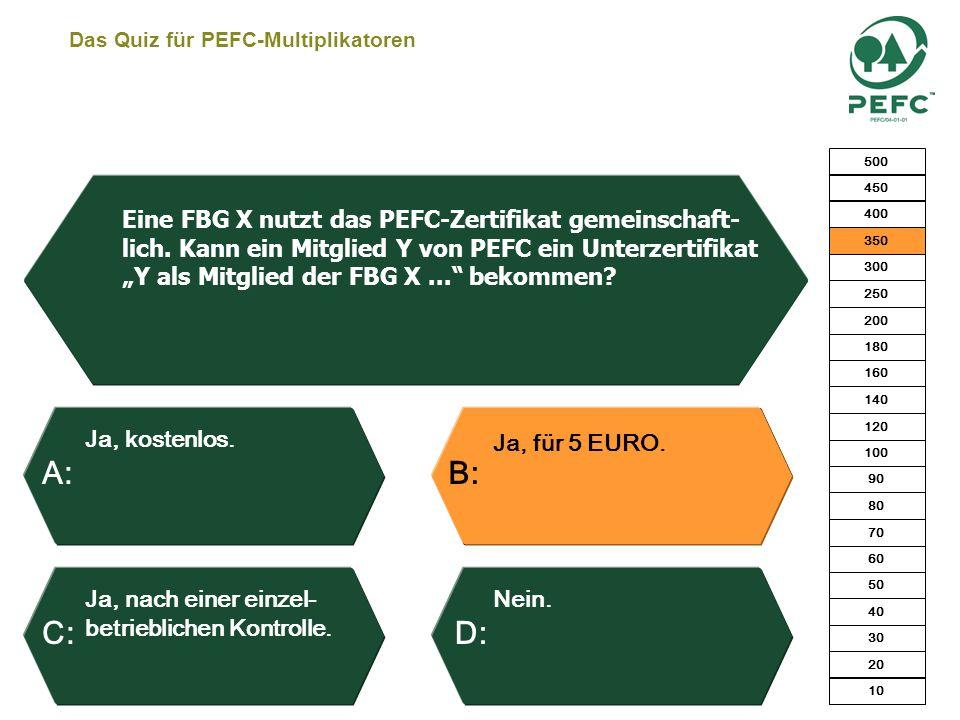 Das Quiz für PEFC-Multiplikatoren Das Holz stammt aus einem zertifizierten Forstbetrieb. Das Holz stammt aus einem zertifizierten Sägewerk. Das Holz s
