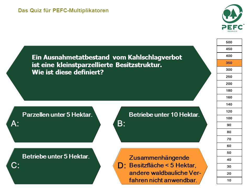 Das Quiz für PEFC-Multiplikatoren Ja, kostenlos. Ja, für 5 EURO. Ja, nach einer einzel- betrieblichen Kontrolle. Nein. Eine FBG X nutzt das PEFC-Zerti