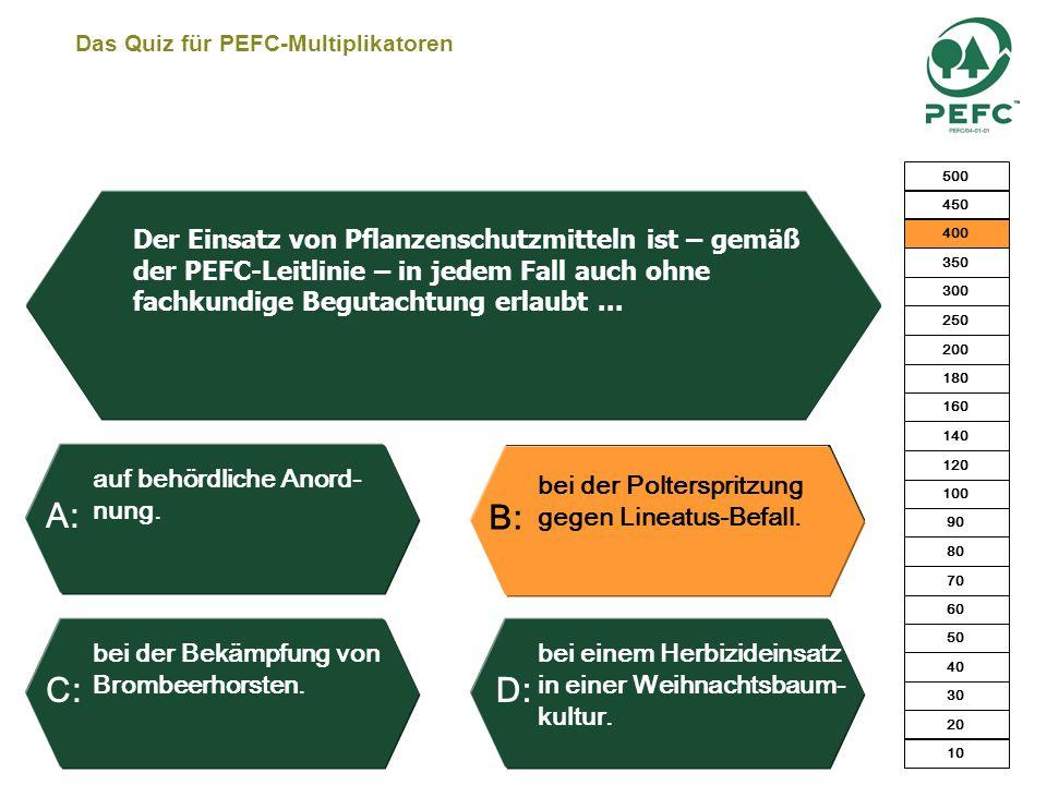 Das Quiz für PEFC-Multiplikatoren Parzellen unter 5 Hektar. Betriebe unter 10 Hektar. Betriebe unter 5 Hektar.Zusammenhängende Besitzfläche < 5 Hektar