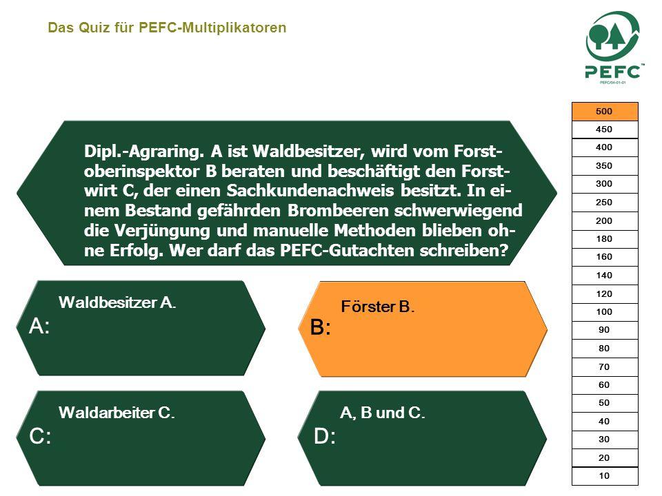 Das Quiz für PEFC-Multiplikatoren Nein, da es sich um eine flächige Nebennutzung handelt. Ja – ohne Wenn und Aber. Ja, wenn er die Fläche nicht auf ei