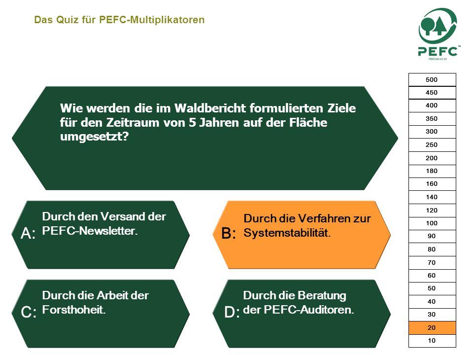 Das Quiz für PEFC-Multiplikatoren Ja, ab sofort. Ja, bei gleichem Leistungsangebot und örtl. Verfügbarkeit. Nein, weil diese Zertifi- kate in Konkurre
