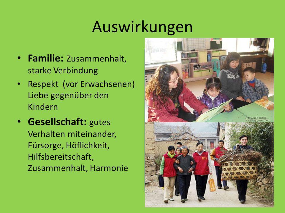 Auswirkungen Familie: Zusammenhalt, starke Verbindung Respekt (vor Erwachsenen) Liebe gegenüber den Kindern Gesellschaft: gutes Verhalten miteinander, Fürsorge, Höflichkeit, Hilfsbereitschaft, Zusammenhalt, Harmonie : - http://www.xiaoyeren.com/html/09/xyr- 209.html