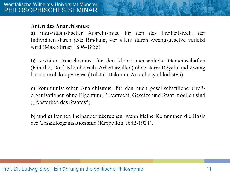 Prof. Dr. Ludwig Siep - Einführung in die politische Philosophie11 Arten des Anarchismus: a) individualistischer Anarchismus, für den das Freiheitsrec