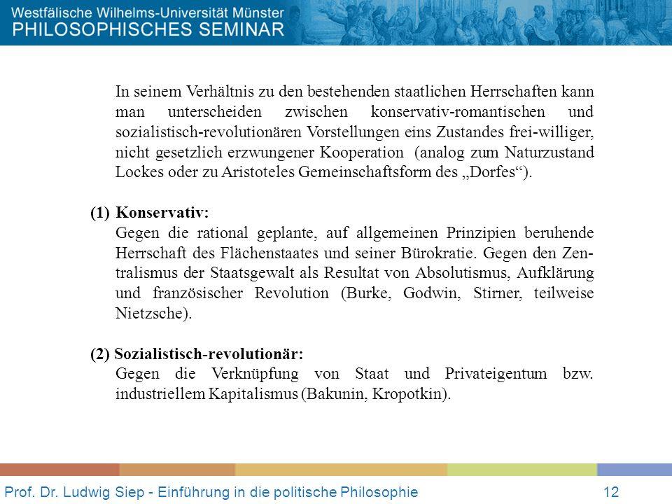 Prof. Dr. Ludwig Siep - Einführung in die politische Philosophie12 In seinem Verhältnis zu den bestehenden staatlichen Herrschaften kann man untersche