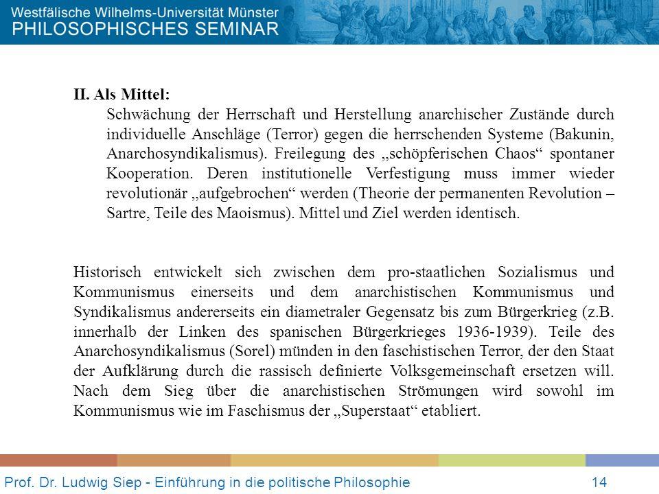 Prof. Dr. Ludwig Siep - Einführung in die politische Philosophie14 II. Als Mittel: Schwächung der Herrschaft und Herstellung anarchischer Zustände dur