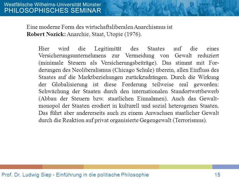 Prof. Dr. Ludwig Siep - Einführung in die politische Philosophie15 Eine moderne Form des wirtschaftsliberalen Anarchismus ist Robert Nozick: Anarchie,