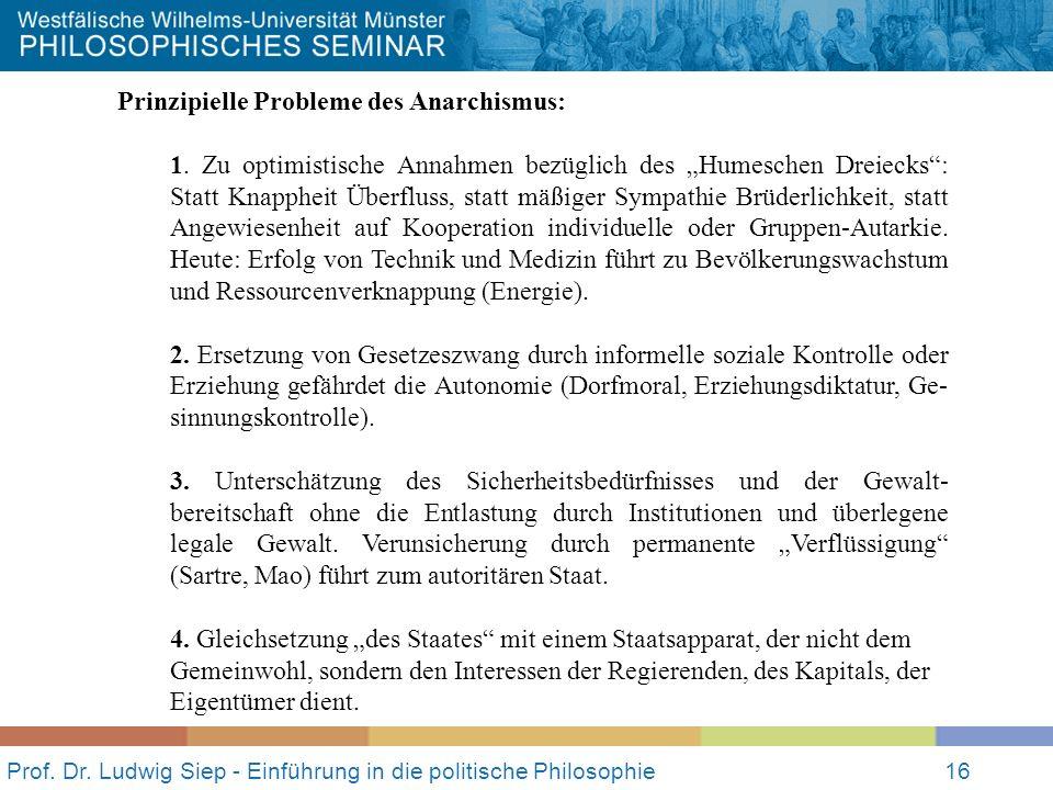 Prof. Dr. Ludwig Siep - Einführung in die politische Philosophie16 Prinzipielle Probleme des Anarchismus: 1. Zu optimistische Annahmen bezüglich des H