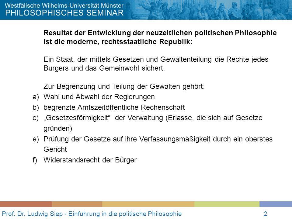Prof. Dr. Ludwig Siep - Einführung in die politische Philosophie2 Resultat der Entwicklung der neuzeitlichen politischen Philosophie ist die moderne,