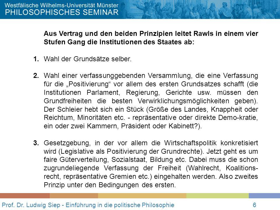 Prof. Dr. Ludwig Siep - Einführung in die politische Philosophie6 Aus Vertrag und den beiden Prinzipien leitet Rawls in einem vier Stufen Gang die Ins