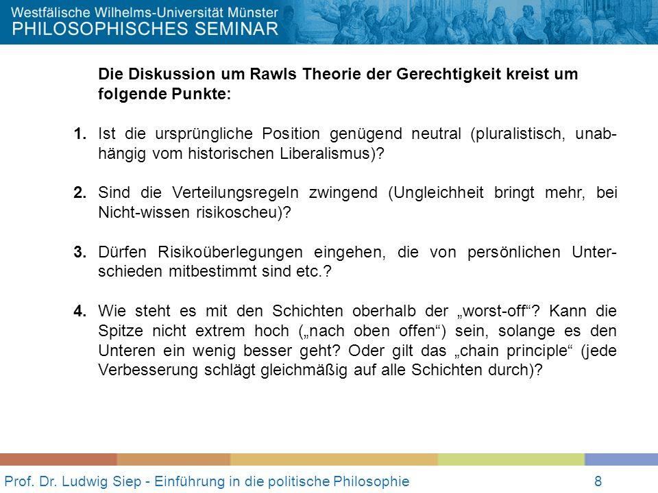 Prof. Dr. Ludwig Siep - Einführung in die politische Philosophie8 Die Diskussion um Rawls Theorie der Gerechtigkeit kreist um folgende Punkte: 1.Ist d